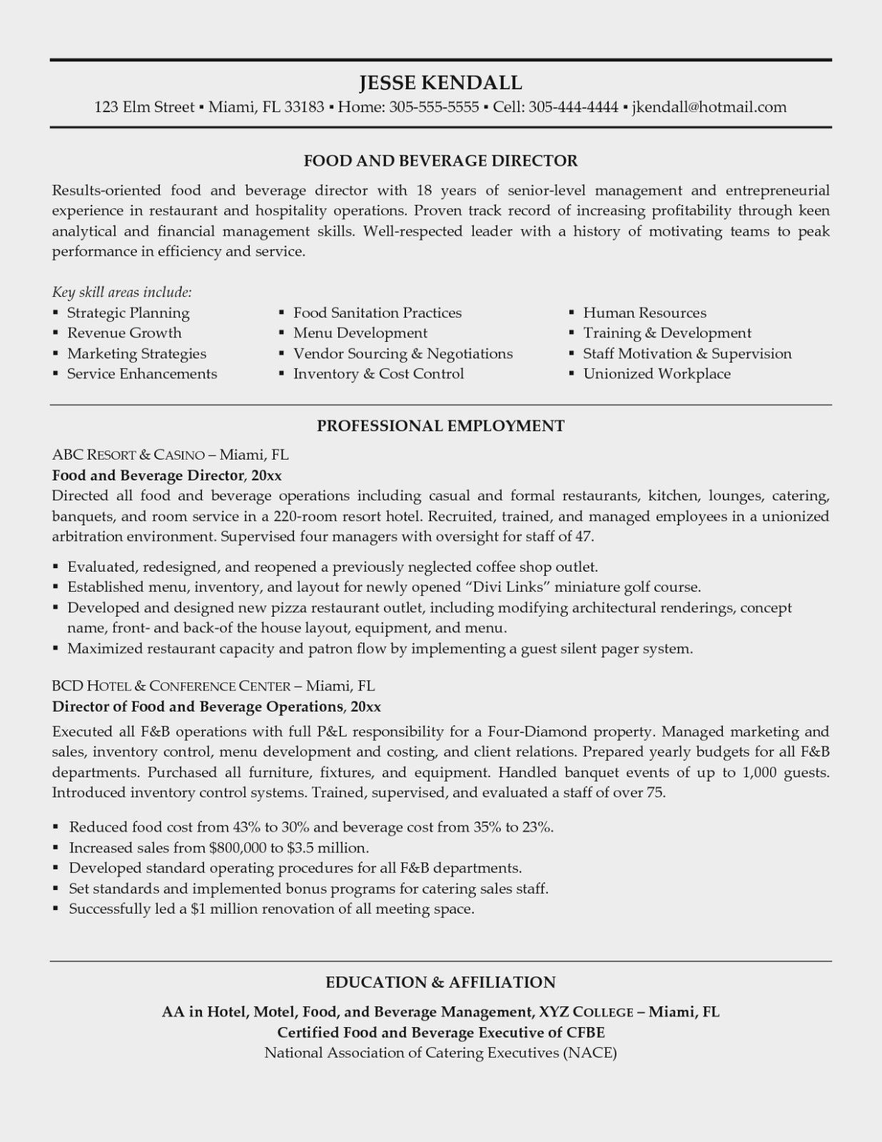 Food and Beverage Manager Resume Uptodate why is Food