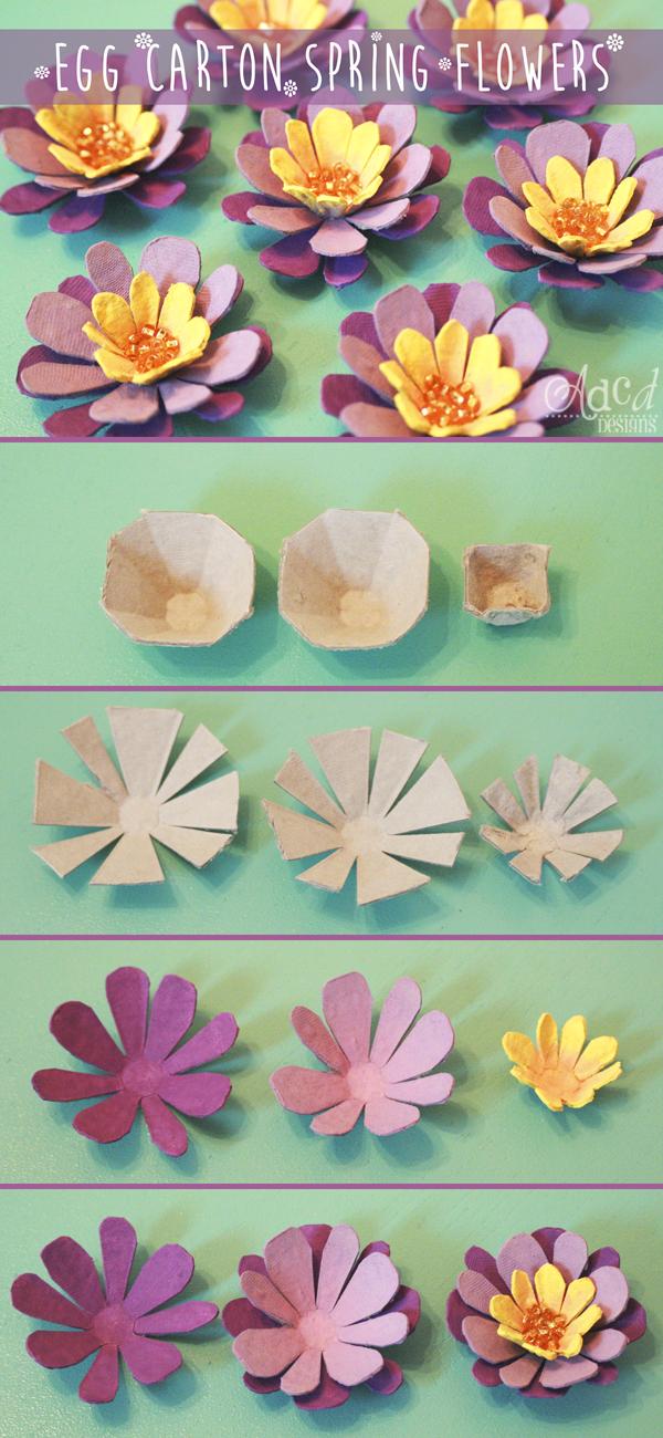 Egg Carton Spring Flowers Manualidades Flores De Caja De Huevos Cartones De Huevos