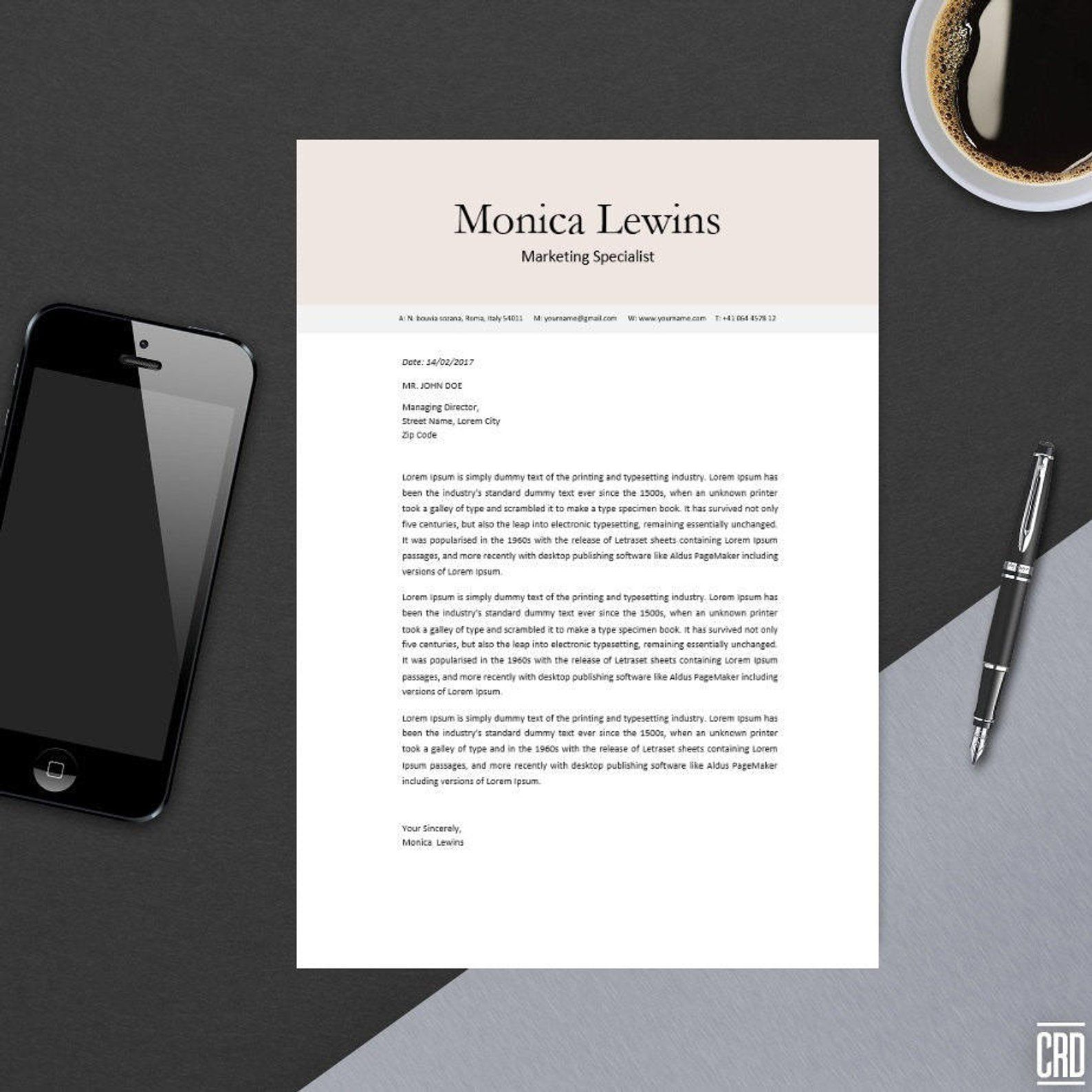 Clean professional resume template for ms word modern