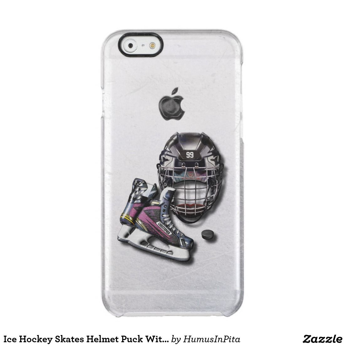 Ice Hockey Skates Helmet Puck With Name And Number Clear Iphone 6 6s Broken Glass Circuit Board Cover For 5c Zazzle Case