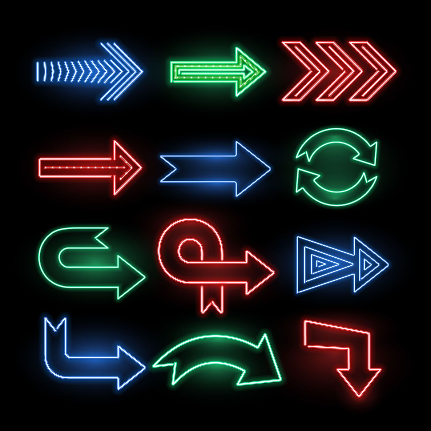 Retro neon direction arrow vector signs, icons By