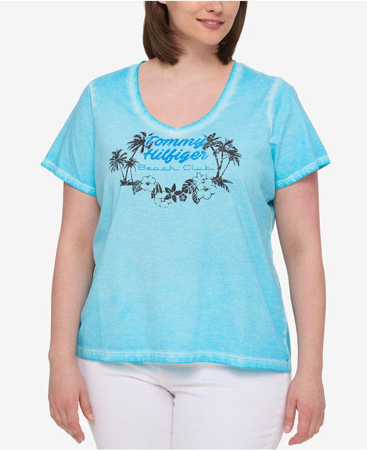 3521a9b3297 Tommy Hilfiger Plus Size Cotton Printed V-Neck T-Shirt