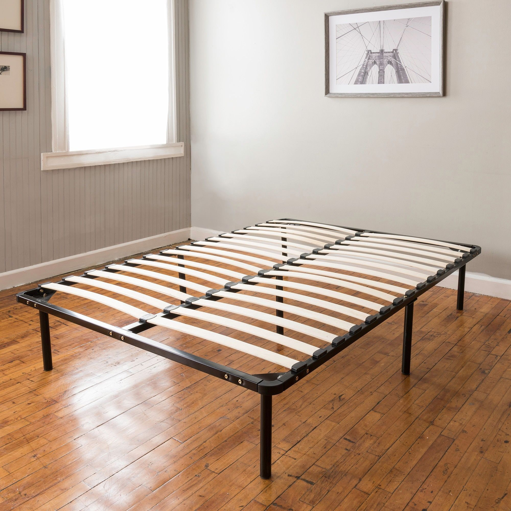 Postureloft wood slat and metal platform fullsize bed frame and