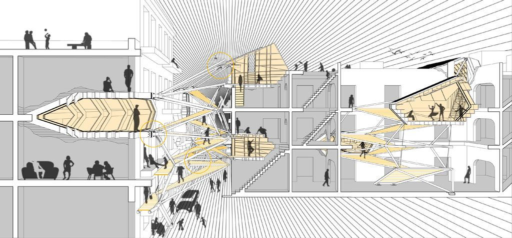 section perspective architectural collage hybrid drawings pinterest perspective. Black Bedroom Furniture Sets. Home Design Ideas