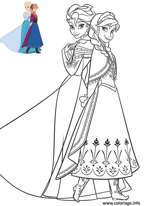 Coloriage anna et elsa en superbe robes reine de neiges à