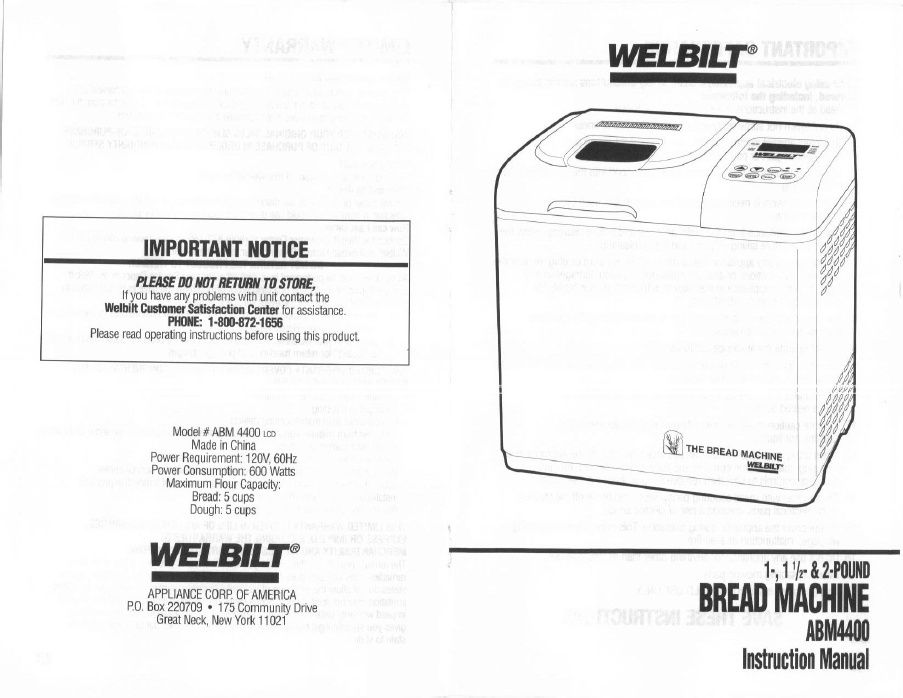 Welbilt Abm Instruction Manual Print Two Sided And Fold For