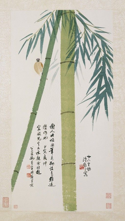 Bamboo and Sparrow    Chen Shuren (1883-1948)  Ink and color on paper.