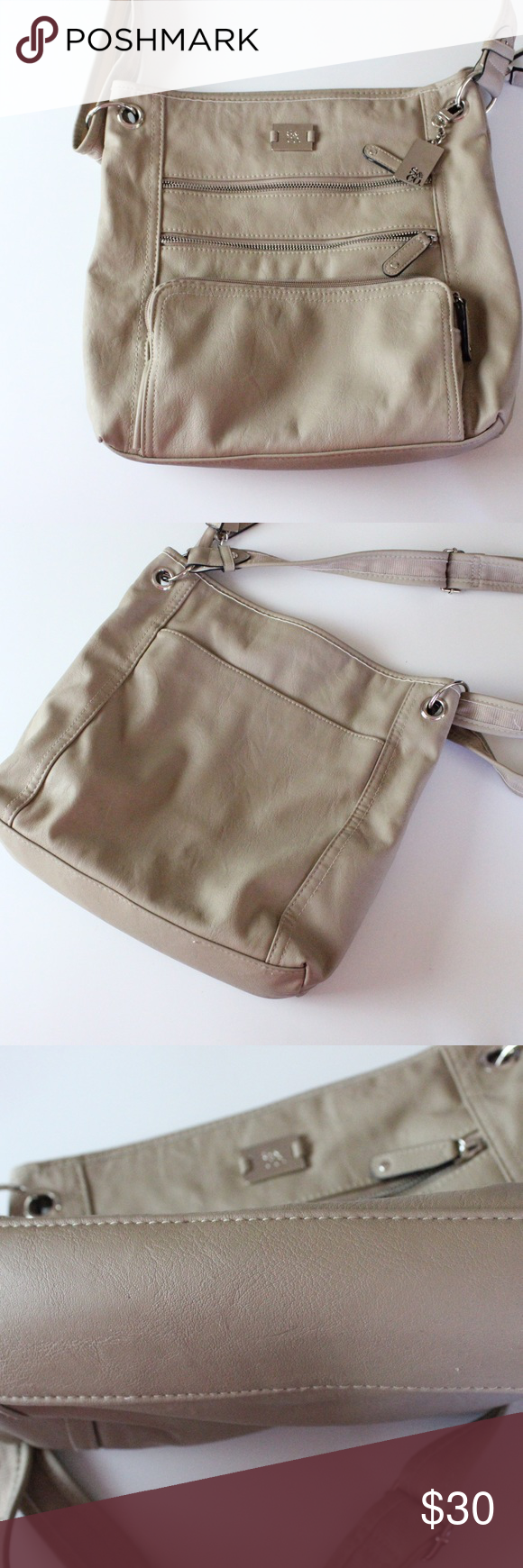 Style & Co Bag Soft cream colored bag with adjustable strap! Good condition, minor ware. Let me know if you would like measurements :) Style & Co Bags Shoulder Bags