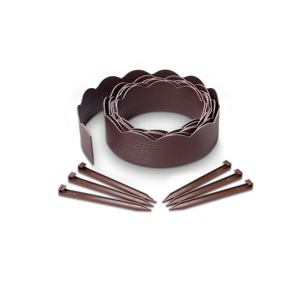 Easyflex 20 Ft Brown Woodgrain 2 In 1 Plastic Landscape 400 x 300