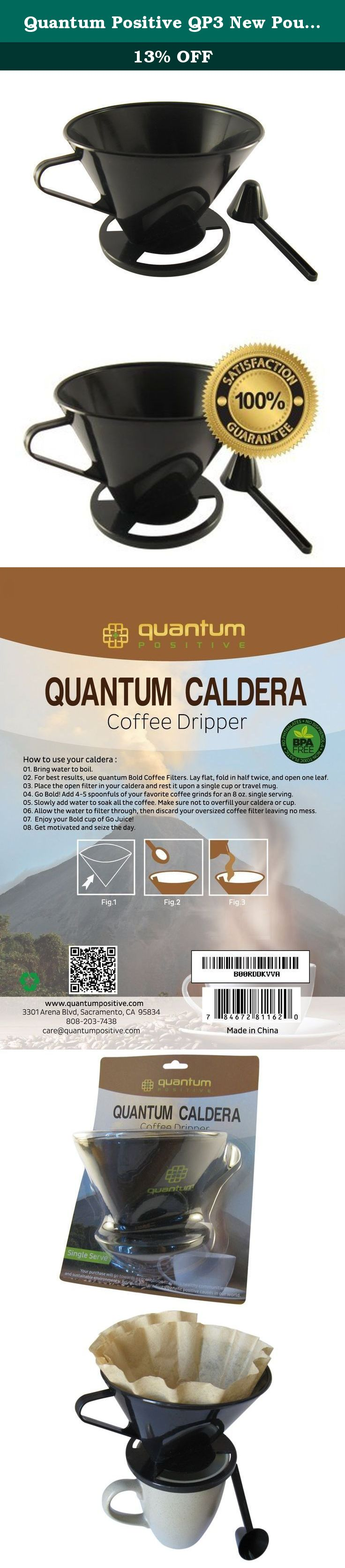 Quantum Positive QP3 New Pour Over Coffee Cone Single Serve Reusable Perfect for Cone Filters