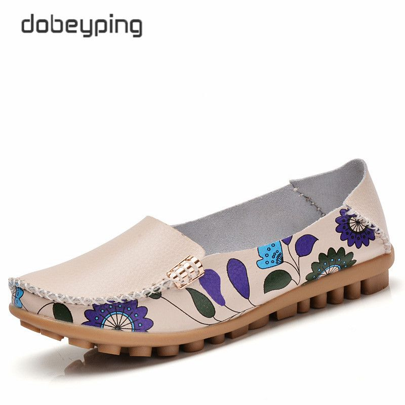 55a5f53d092f 2017 New Design Print Flower Women s Casual Shoes High Quality Genuine  Leather Women Flats Slip On Female Loafers Lady Boat Shoe