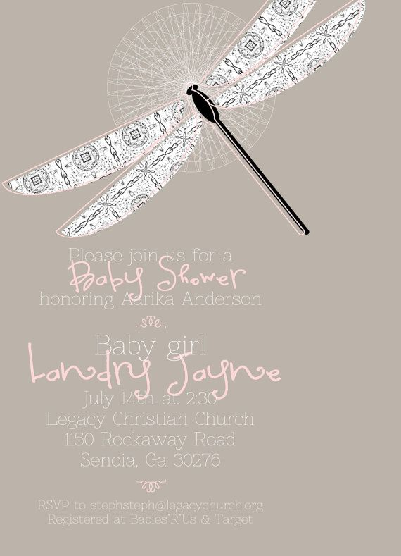 Dragonfly baby shower invitation its a girl by designxfive 1355 dragonfly baby shower invitation its a girl by designxfive 1355 filmwisefo