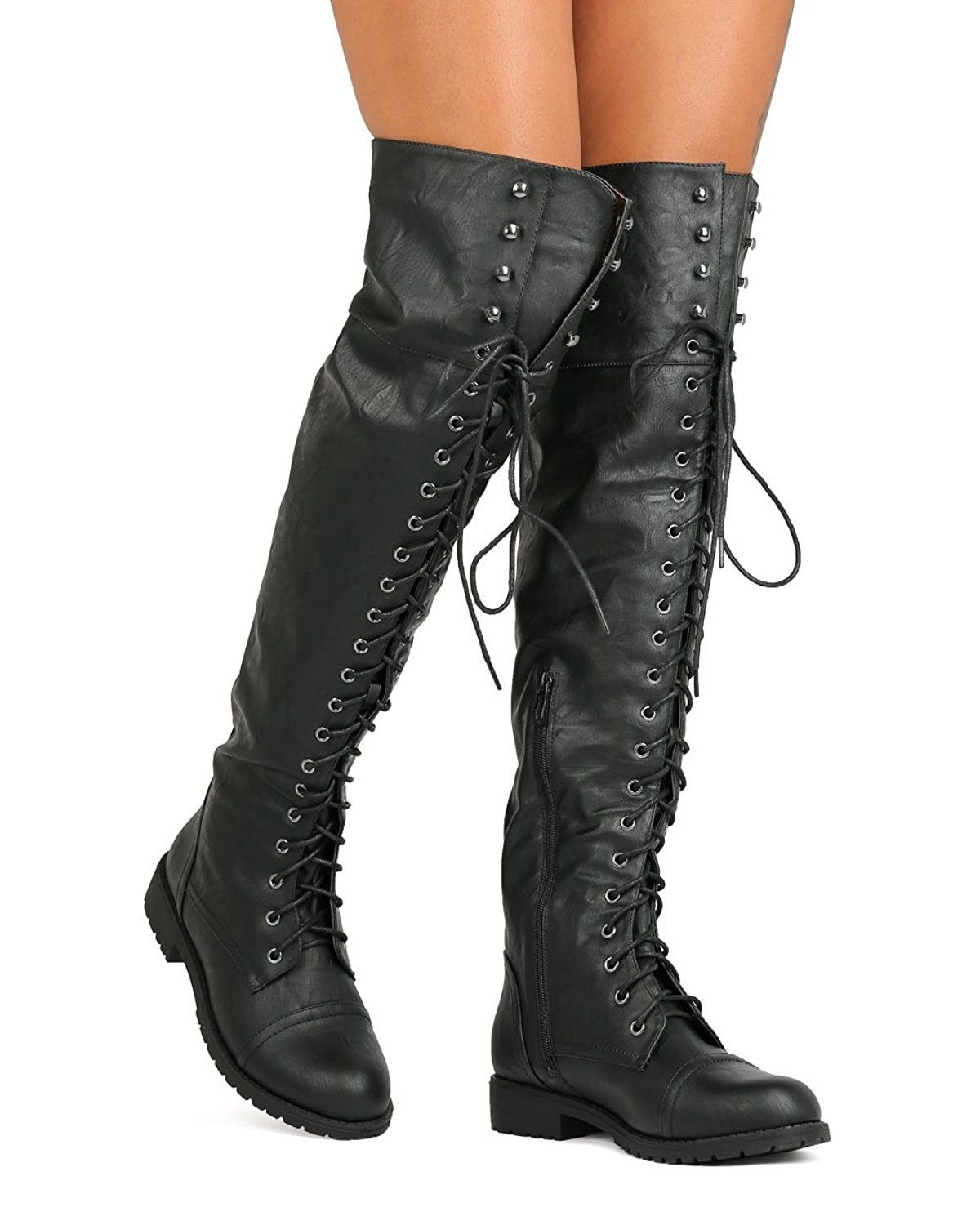 Knee Lace Up Combat Boot - Black