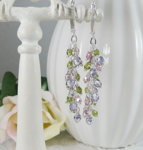 Dangle Earrings Wire Wrapped in Spring Colors by IndulgedGirl