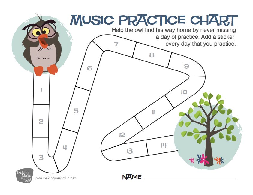 Free Owl Music Practice Chart Help The Owl Find His Way Home By Never Missing A Day Of Practice Music Practice Chart Music Practice Homeschool Music Lessons