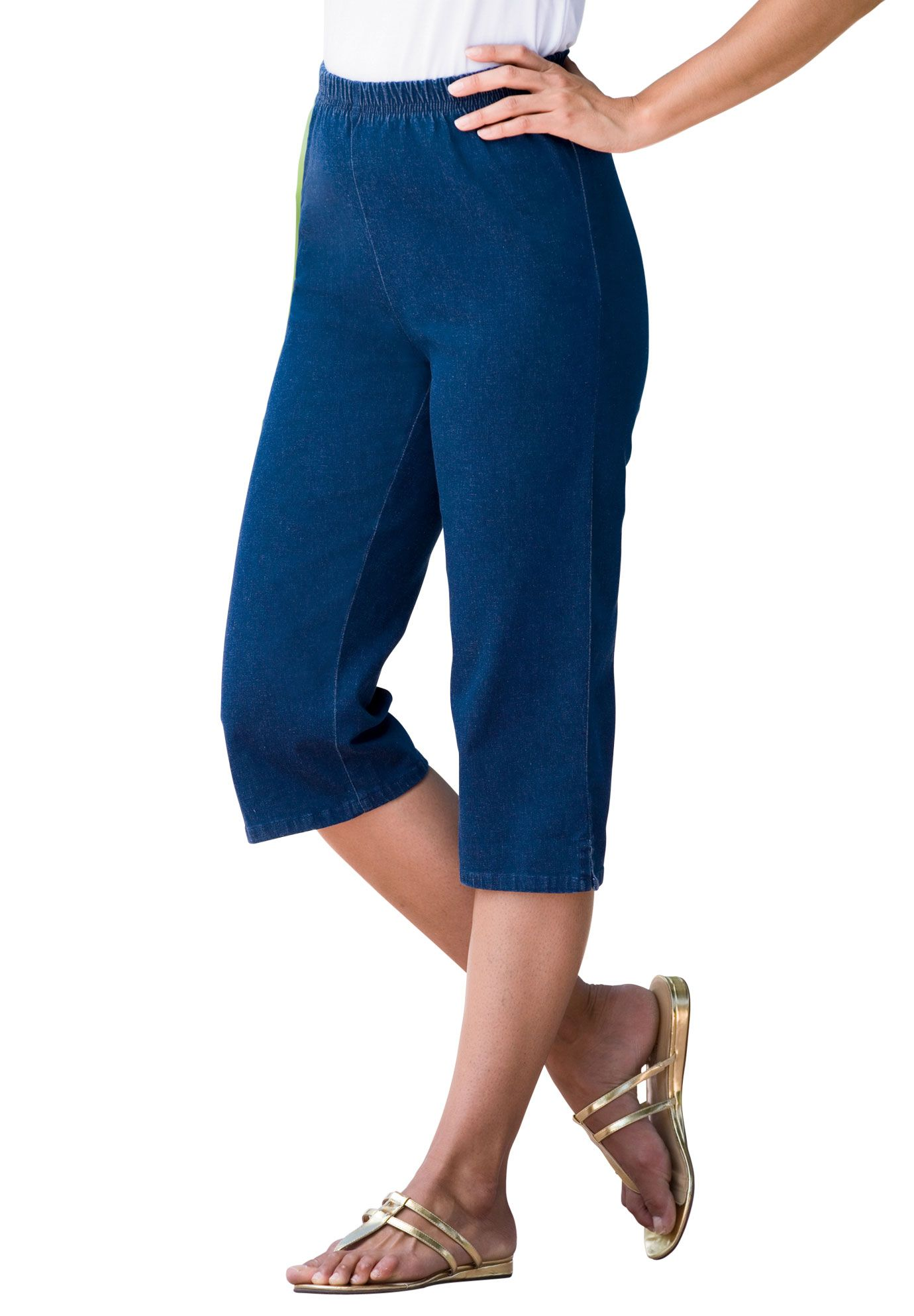 Women's Plus Size Petite Stretch Capris | Pedal pushers, Clothing ...