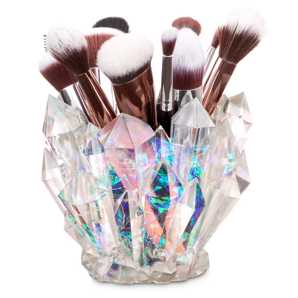Crystal makeup brush holder