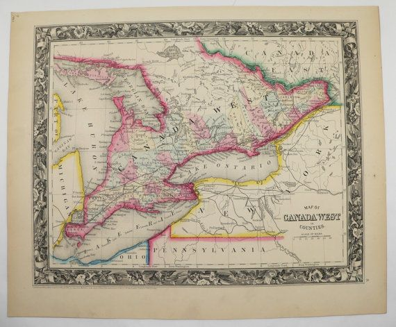 Canadian Wedding Gifts: Original 1860 Mitchell Ontario Map, Canada West, Canadian