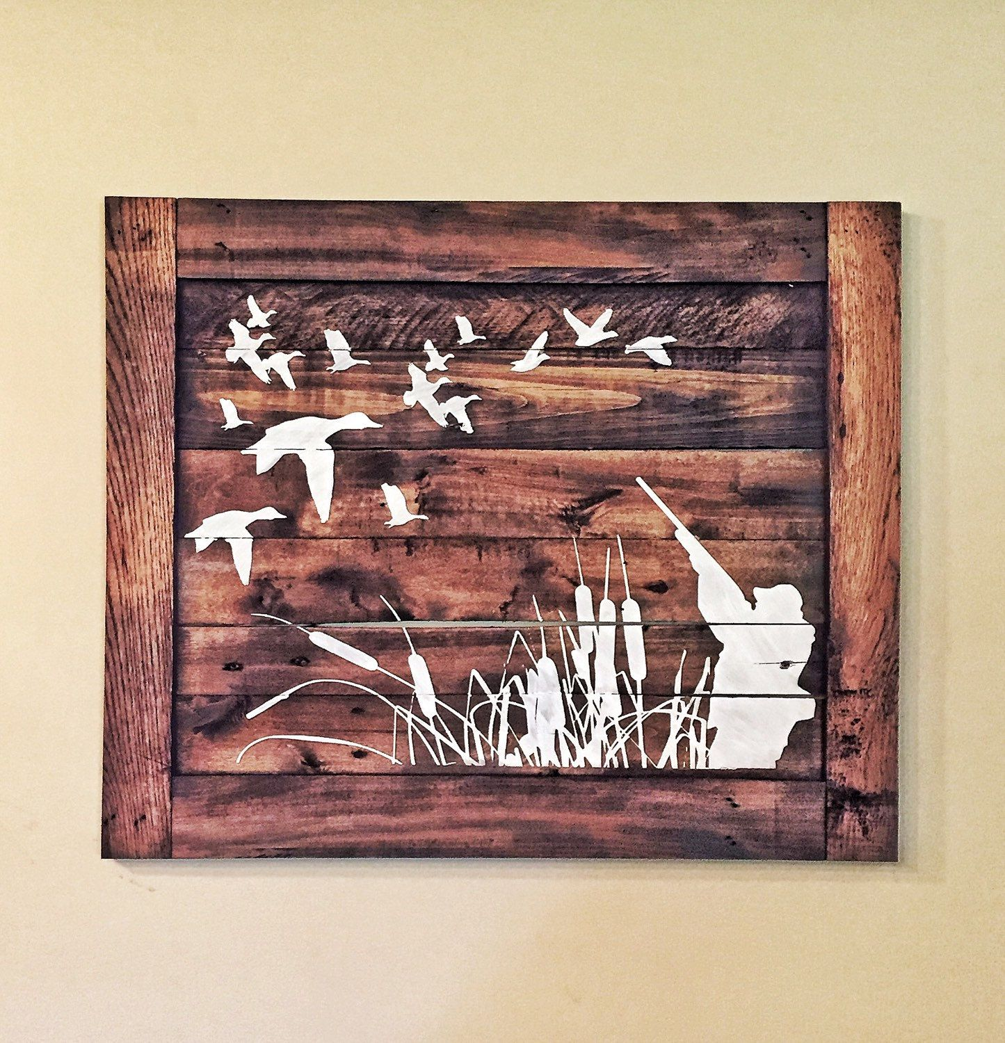 Duck hunting wood sign hunters home decor by for Wooden art home decorations