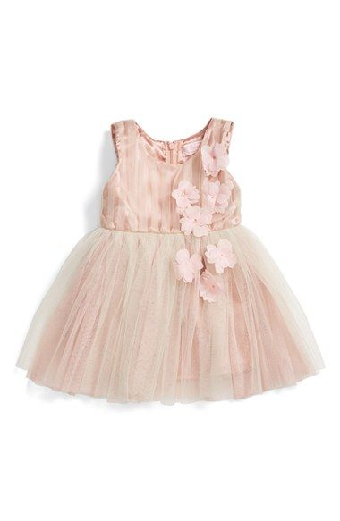 a4879fd1ab Free shipping and returns on Popatu Sleeveless Rosette Tulle Dress (Baby  Girls) at Nordstrom.com. Pale petal appliqués cascade down the gently  pleated tulle ...