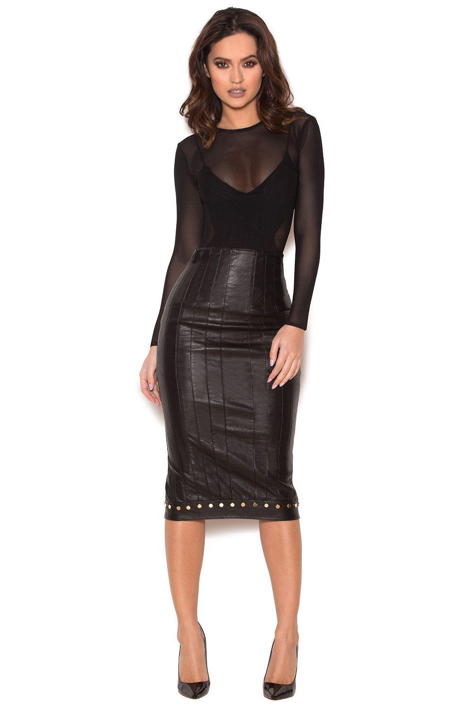 fd5ed6bf03 Clothing : Skirts : 'Remi' Black Stretch Vegan Leather Studded Pencil Skirt