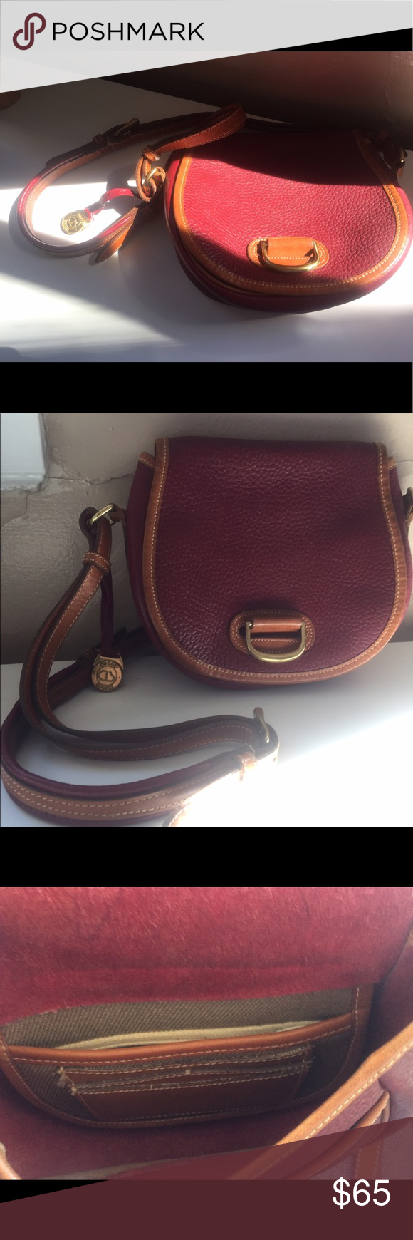 Dooney & Bourke crossbody bag Gorgeous everyday bag, classic lines, oxblood and luggage tan color scheme, brass hardware, D&B charm on leather tassel. Interior pockets for credit cards, interior zipper pocket. Dooney & Bourke Bags Crossbody Bags