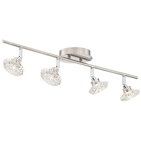 Add A Touch Of Glamour To This 4 Light Track Fixture In Satin Nickel Finish With Clear Crystal Gl