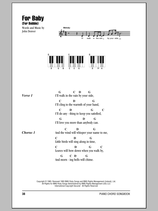 Download Piano Chordslyrics Sheet Music To For Baby For Bobbie By