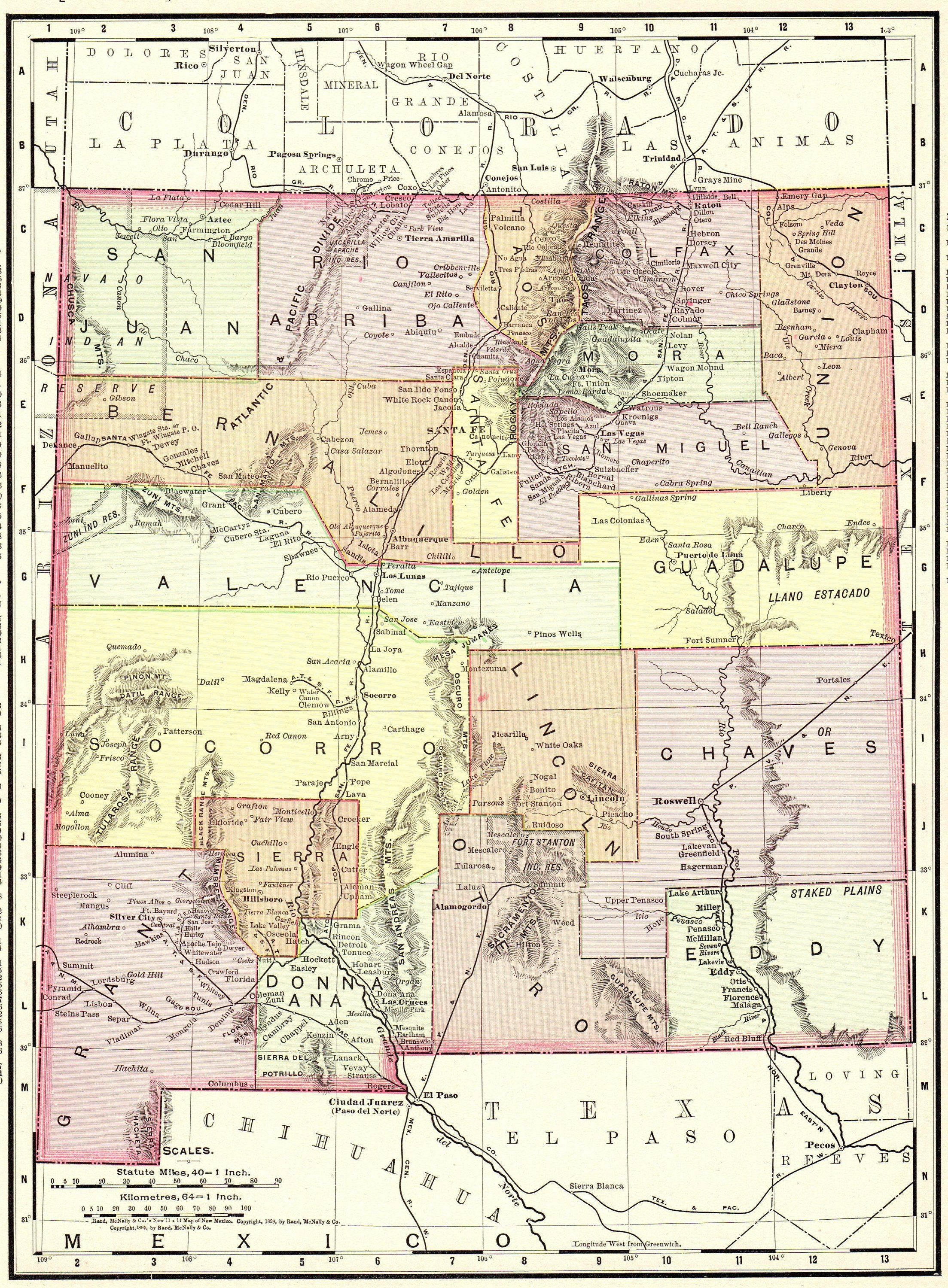 1913 Antique NEW MEXICO Map Vintage State Map of New Mexico Gallery ...