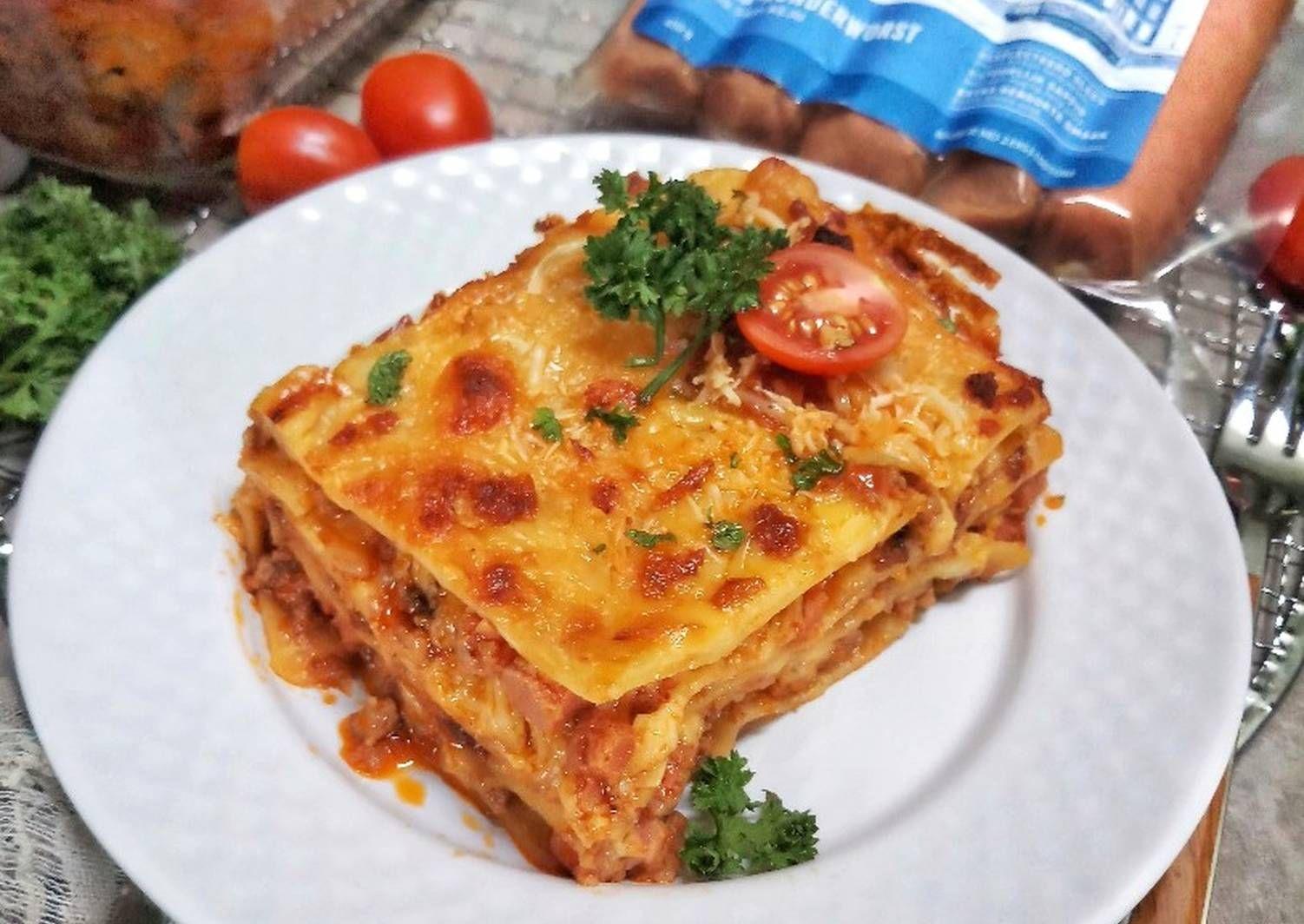 Resep Lasagna Sosis Sapi Keju Oleh Dapurvy Resep Resep Makanan Penutup Resep Lasagna