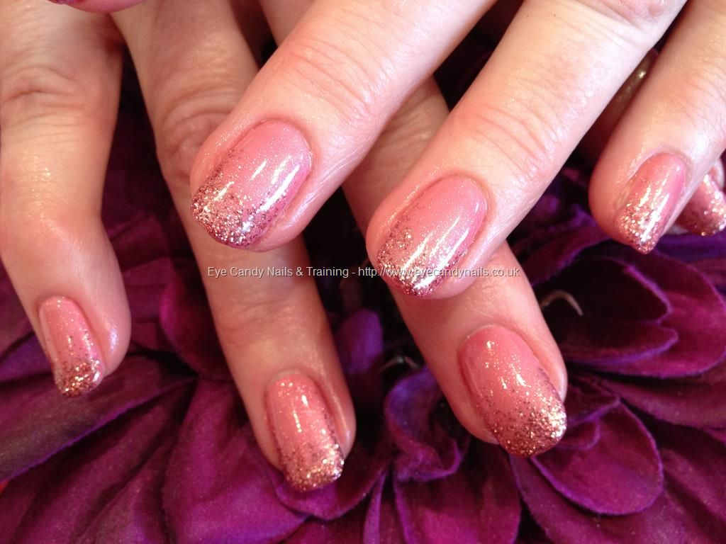 Natural nail overlay in shimmer pink with pink glitter fade | Gel ...