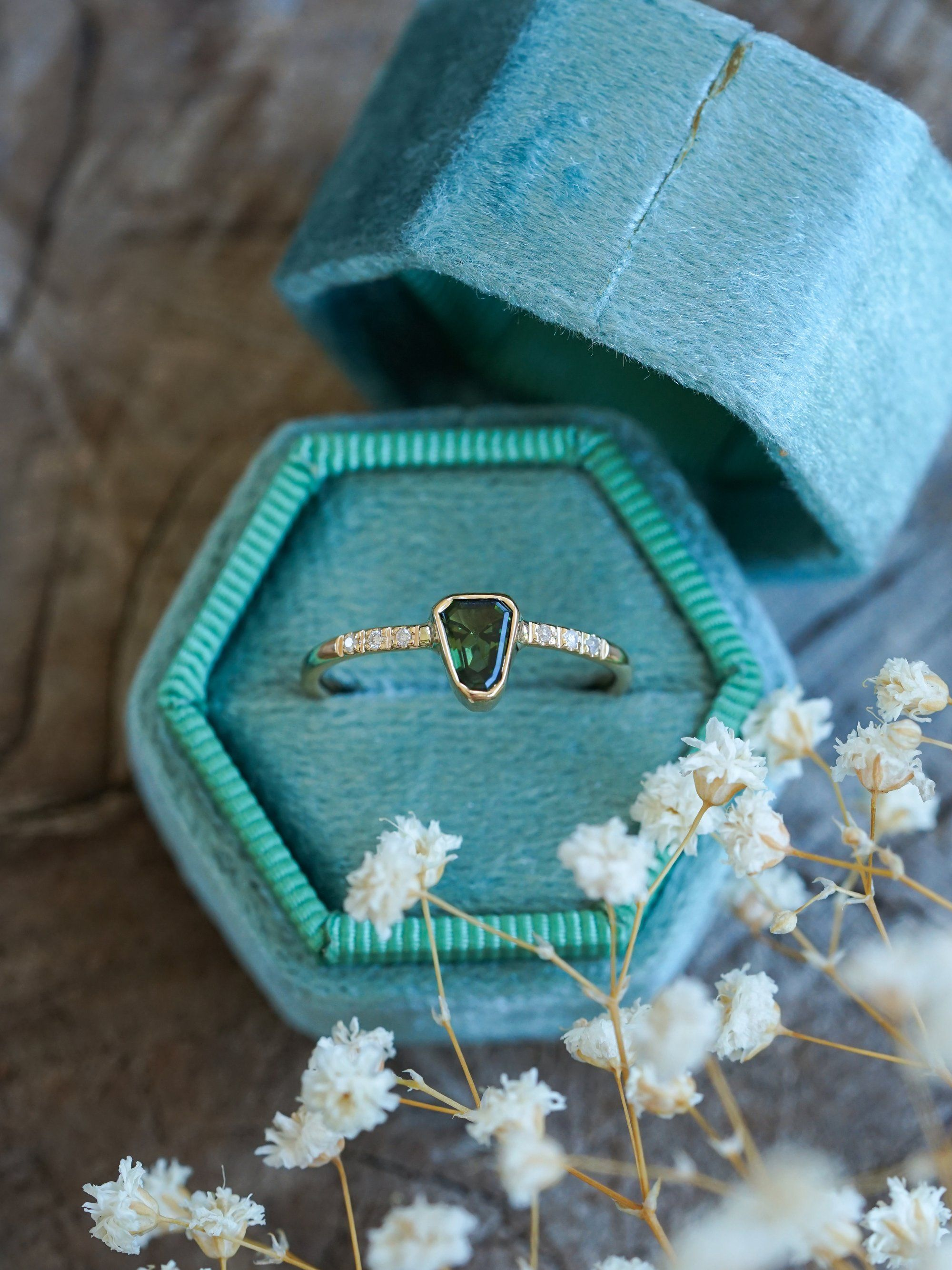 Maine Tourmaline And Diamond Ring In Eco Gold In 2020 Gold Rings