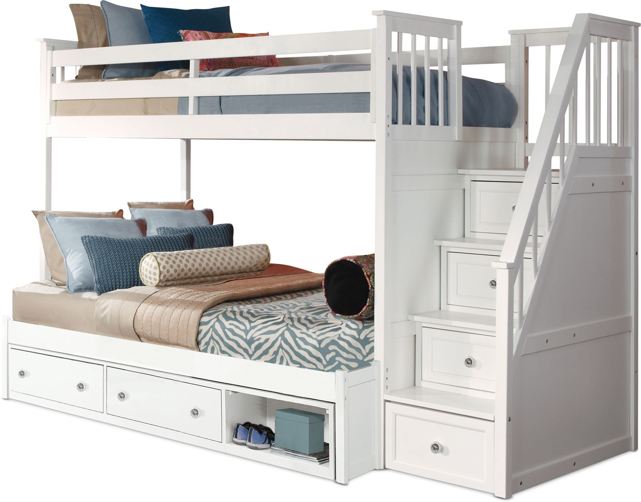 Flynn Twin Over Full Storage Bunk Bed With Storage Stairs White In 2021 Bunk Beds With Storage Bunk Beds Built In Bunk Bed Designs Twin over full bunk beds with stairs