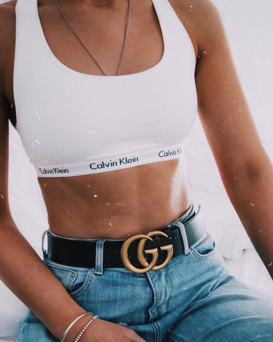 Pinterest Tessmeyer5 Gucci Belt And Calvin Klein Sports Bra In 2020 Calvin Klein Outfits Calvin Klein Sport Calvin Klein Bra Outfit