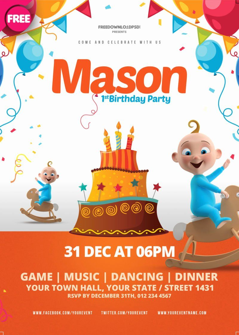 Birthday party flyer templates free beautiful free