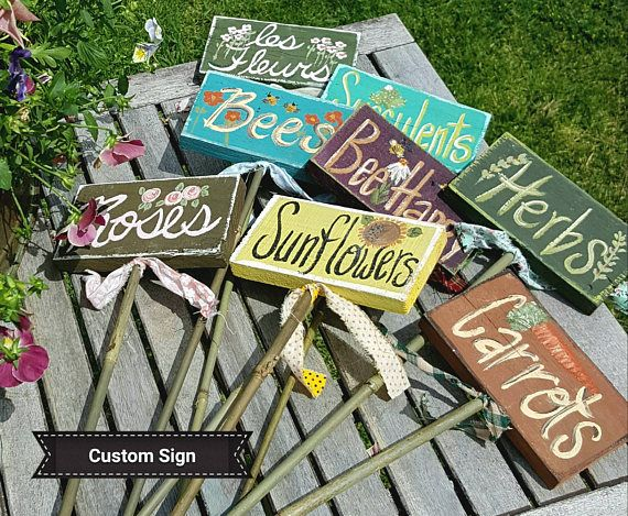 CUSTOM STAKE SIGN,garden Markers,garden Stakes,rustic Garden  Decor,vegetable Garden,flowers,custom Garden Signs,wood Stake,childrens  Garden