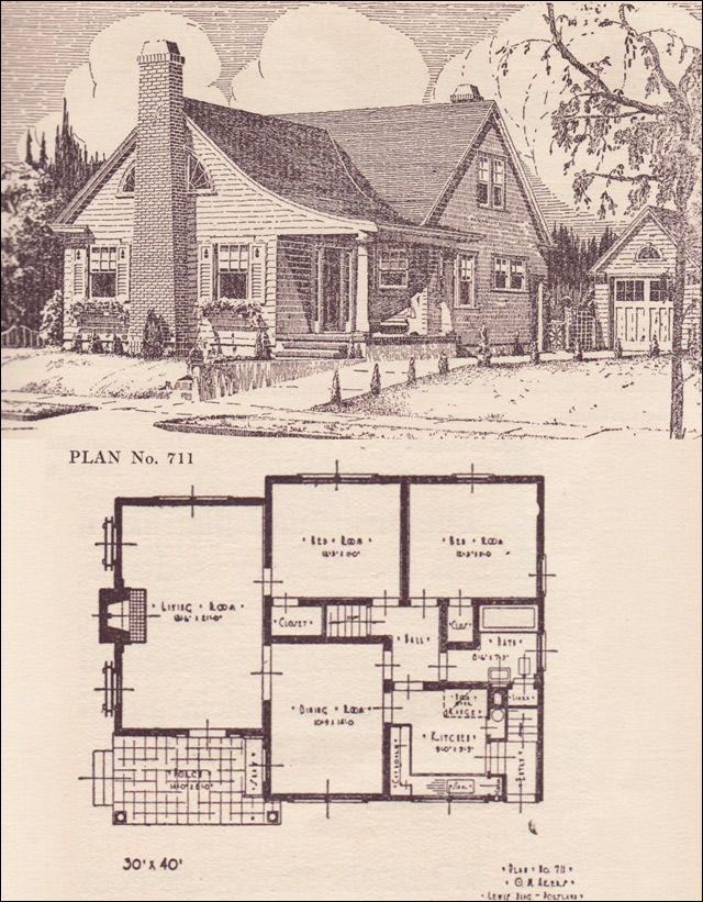 1924 Portland Telegram Plan Book No 711 Love The Little Garage To The Side Swee Colonial House Plans Craftsman Style House Plans House Plans With Pictures