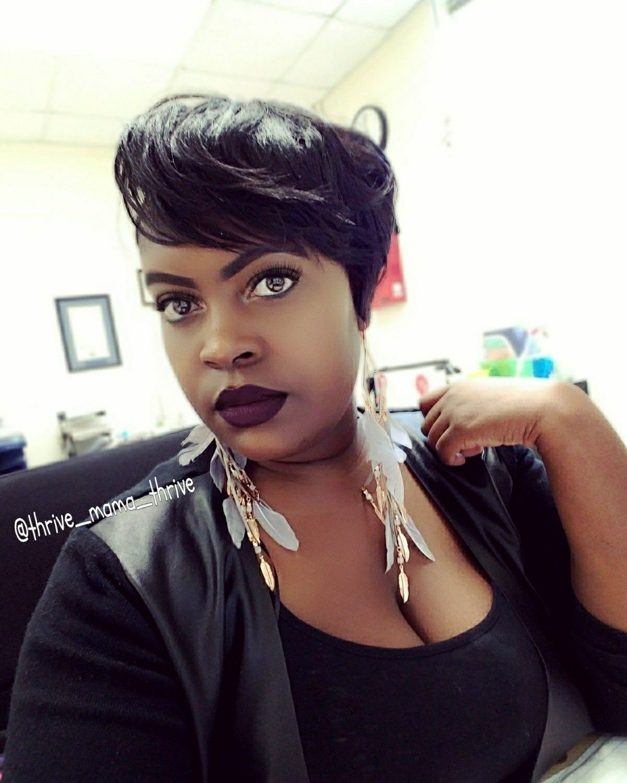 Short hair style pixie cut black women hairstyle long bangs halle