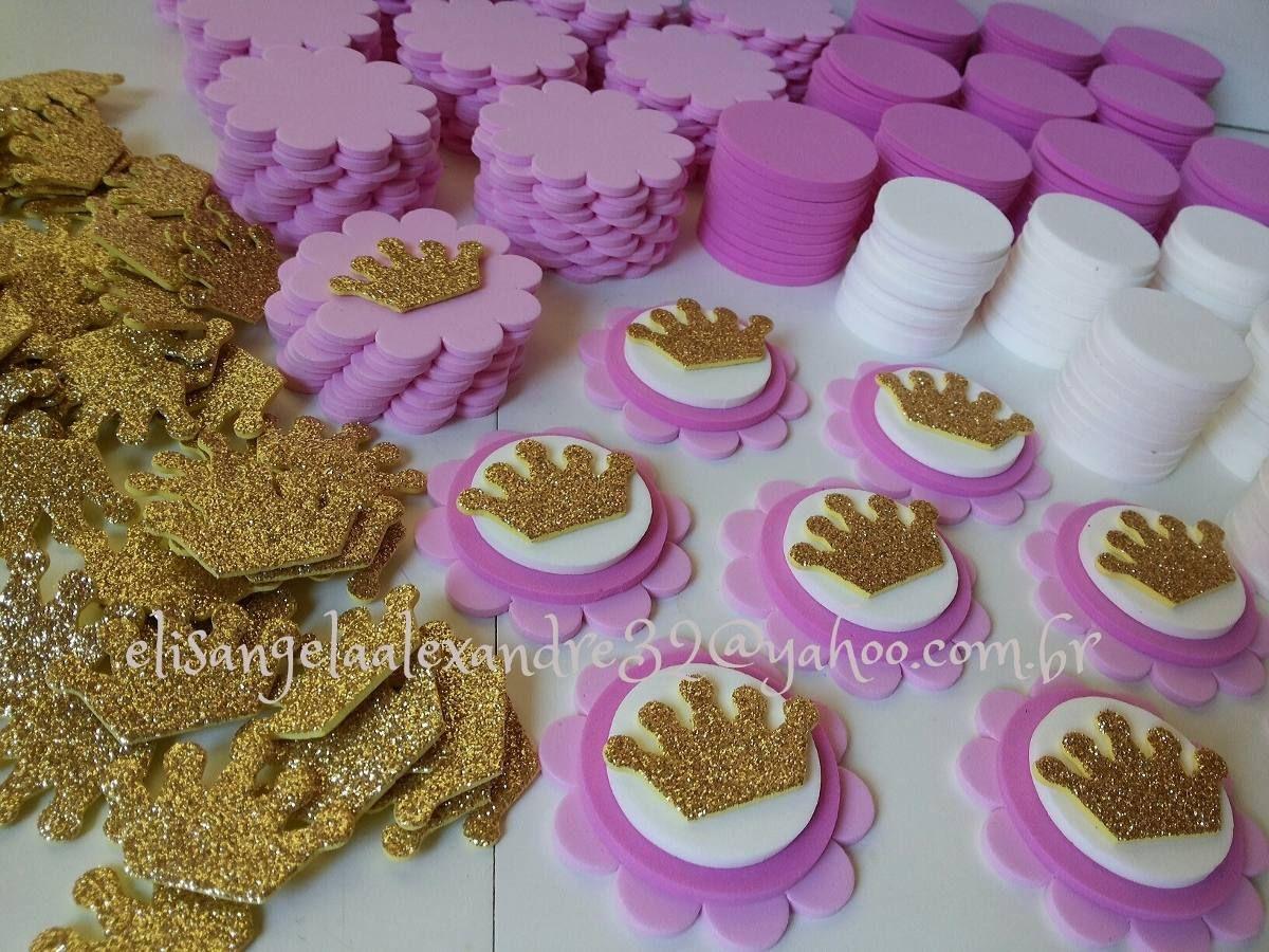 kit para 50 apliques coroa princesas p/lembrancinhas | Fiesta de ...