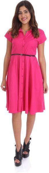 فستان طول الركبة فستان بنمط قميص لون موحد للنساء من انديامو فوشي Pleated Skirt Short Sleeve Dresses Fashion