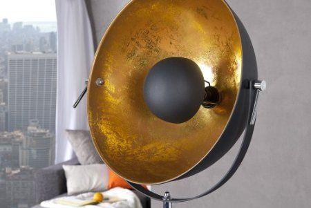 Moderne Design Stehlampe STUDIO schwarz gold Lampe Blattgold