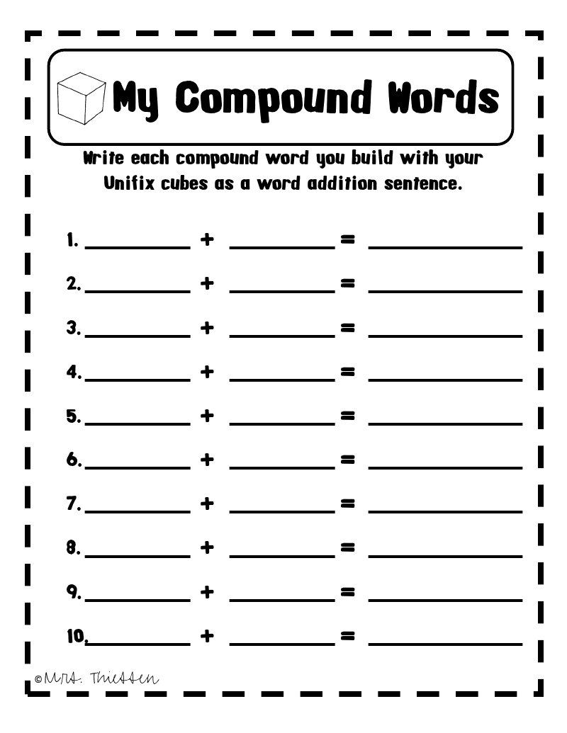 Free downloadable worksheet: Compound Words | First Grade Friends ...