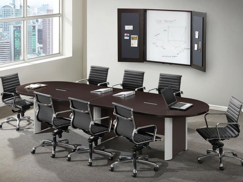 10 Elliptical Base Racetrack Conference Table 10 X 4 Racetrack Conference Table With Option Conference Room Design Conference Table Office Furniture Tables