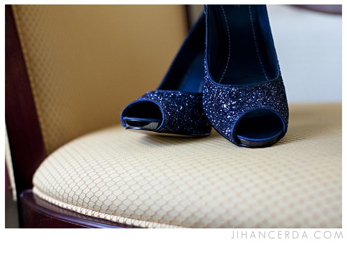 Navy Blue Wedding Shoes With Bling... Perfect Height, Not To High You