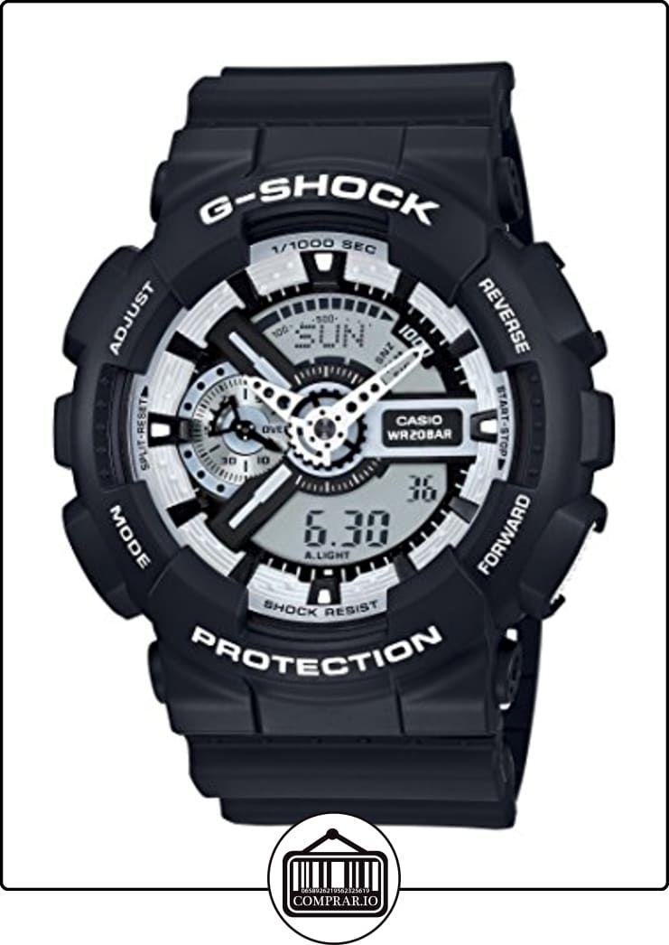 f07b96d5c83 Reloj cuarzo Casio Para Unisex Con Plata Analogico- digital Y Negro Resina  GA-110BW-1AER de ✿ Relojes para hombre - (Gama media alta) ✿