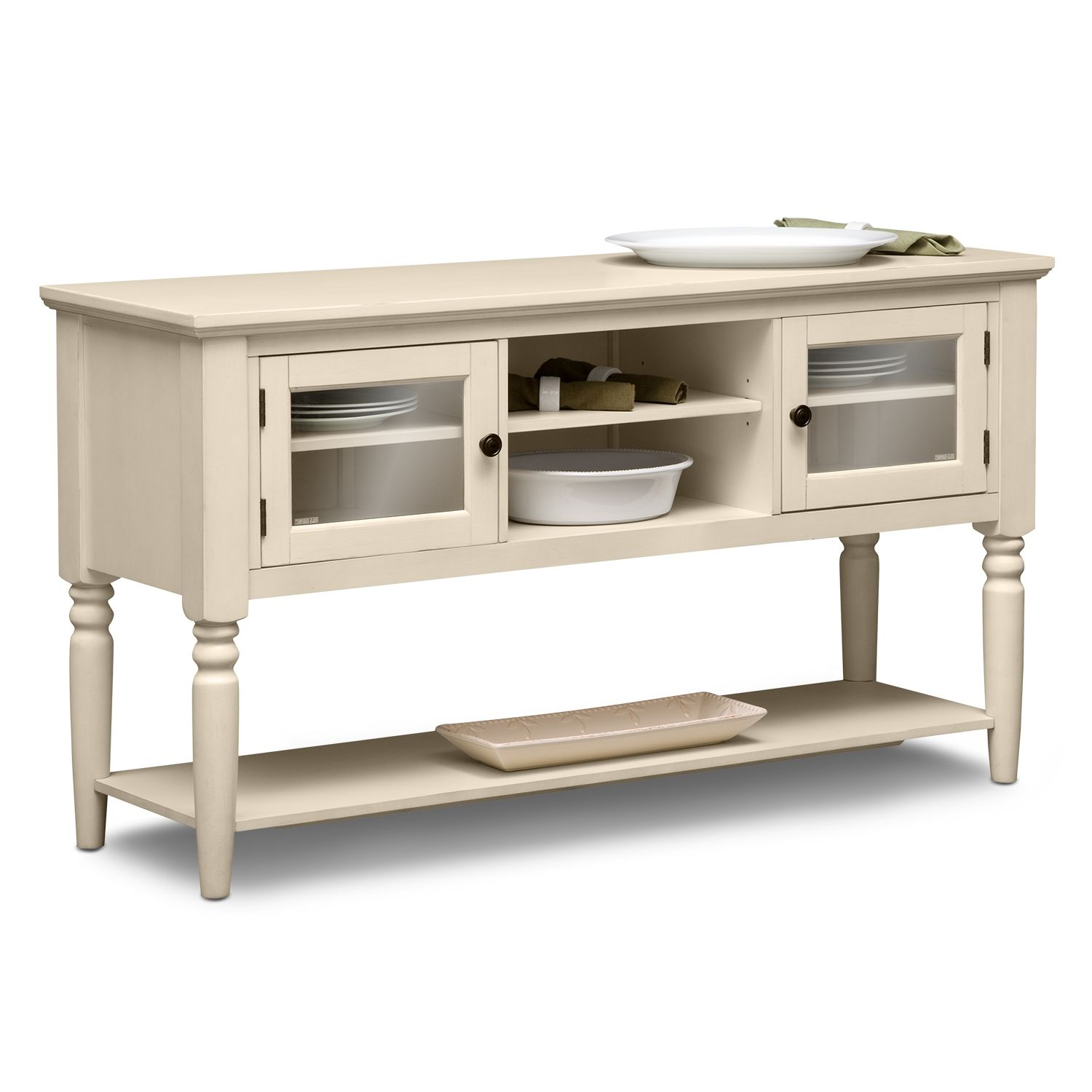 Carnival White Dining Room Server   Value City Furniture