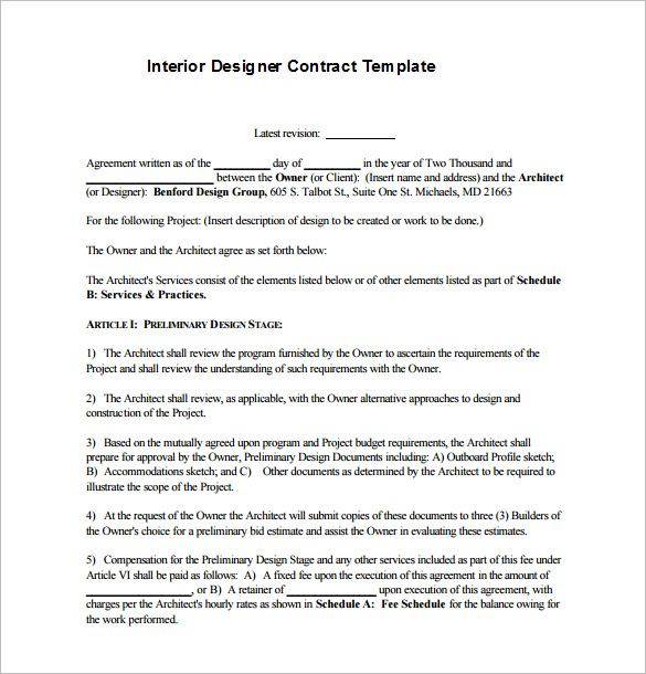 7 Interior Designer Contract Templates Pdf Doc Contract Template Proposal Templates Design Jobs