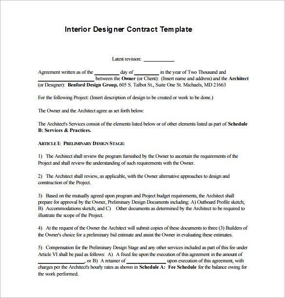 7 Interior Designer Contract Templates Pdf Doc