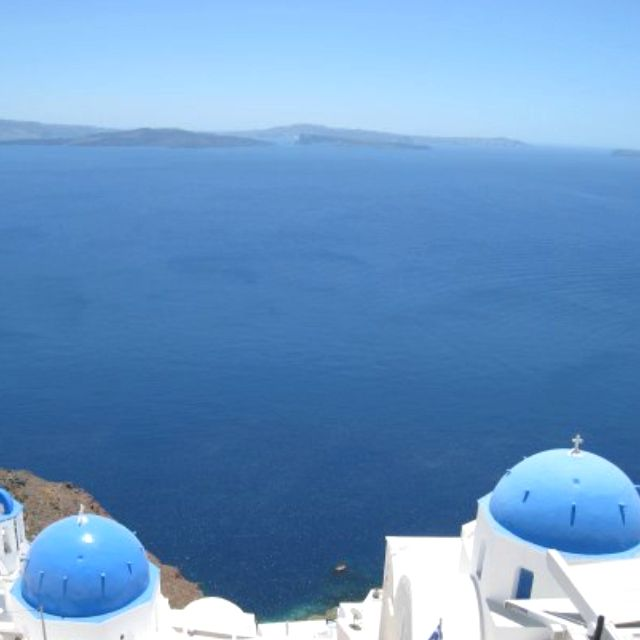 View from a cafe in Santorini, Greece