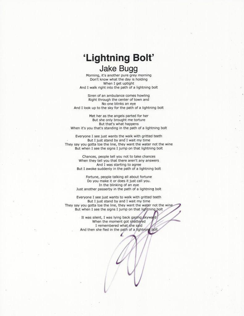 Jake Bugg Autographed Signed Lyric Sheet Photo COA